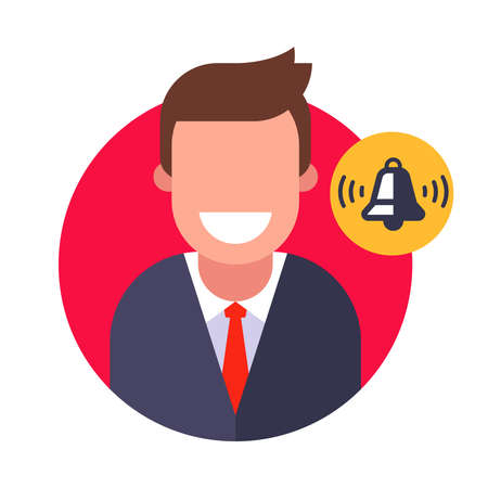 reminder for the manager. ringing bell for a person. flat vector illustration.