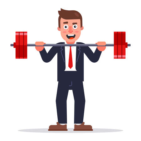 a man in a business suit raises a barbell. flat vector character illustration.