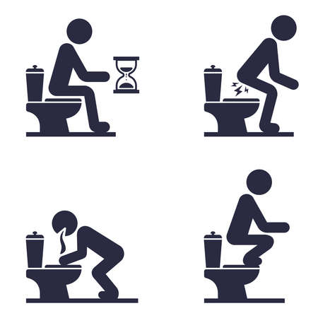 set of icons of a man sitting on the toilet. a mans stomach problem. flat vector illustration.