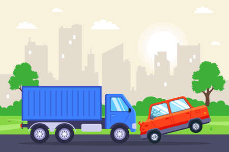 a passenger car crashed into a truck. flat vector illustration