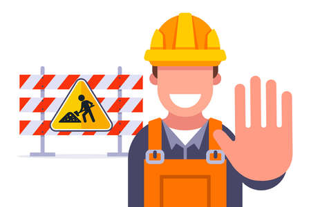 fences for road repair. restriction of travel on the highway. flat vector illustration.