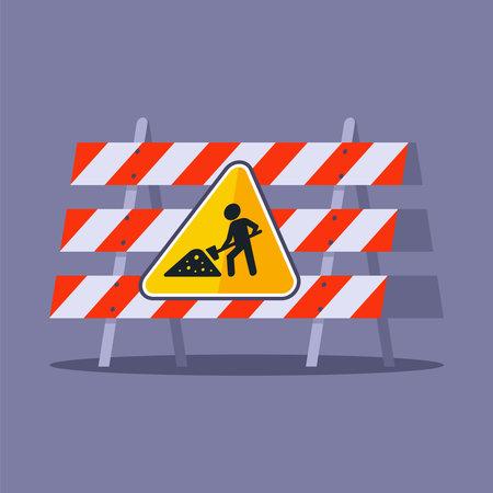 construction fencing for motorists. sign under construction. flat vector illustration.