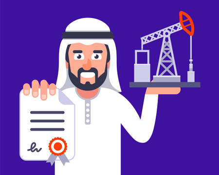 an Arab is negotiating for the supply of oil. flat vector illustration