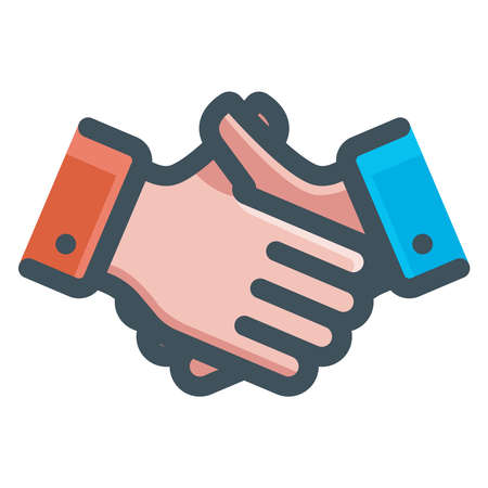 business people handshake icon. flat vector illustration. 向量圖像