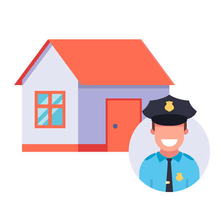 the police are guarding a private house. flat vector illustration 向量圖像