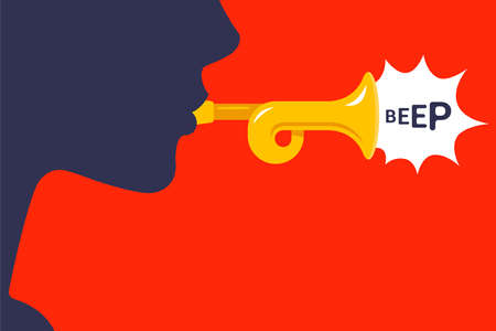 man plays a wind musical instrument. flat vector illustration.