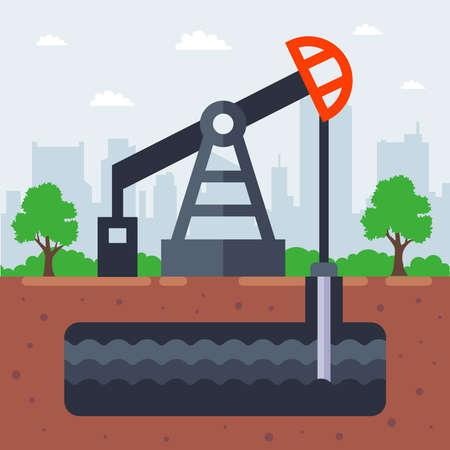 pump oil from the ground. flat vector illustration.