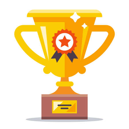 gold glittering cup for the first place in sports. flat vector illustration.