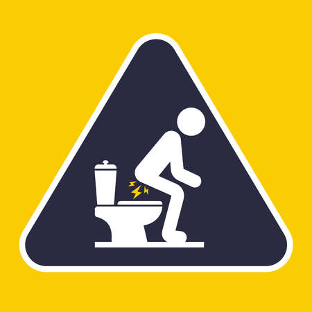 sign the problem of bowel movement in the toilet. flat vector illustration. 向量圖像