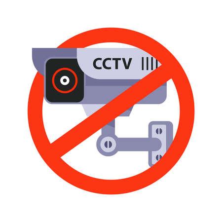video surveillance prohibition sign. flat vector illustration 向量圖像