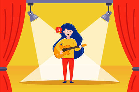 girl guitarist performs on stage. flat vector illustration.