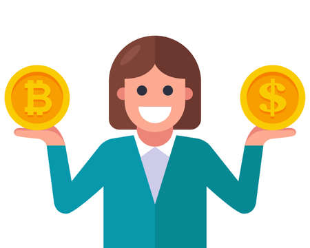 girl holding a dollar and bitcoin coin in her hands. flat vector character illustration. 向量圖像