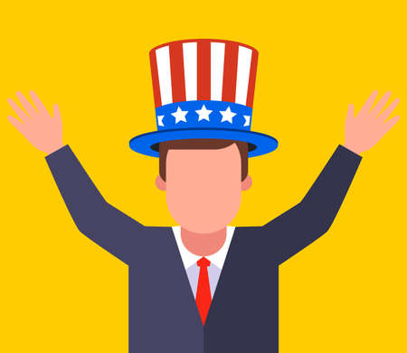 man in American hat with stripes and stars. flat vector illustration