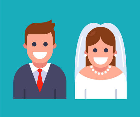 bride and groom character icon. flat vector illustration. 向量圖像