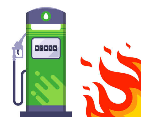 big fire next to the gas station. through the sound situation next to the gas station. flat vector illustration. 向量圖像