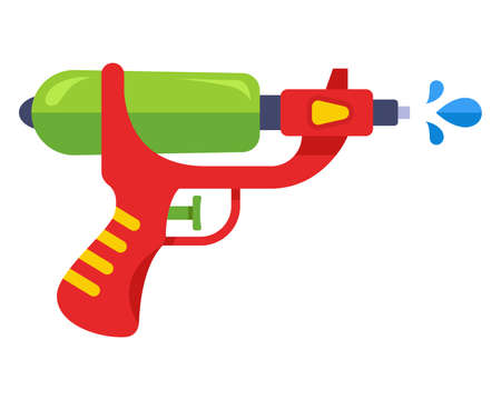 childrens water gun for fun. flat vector illustration.