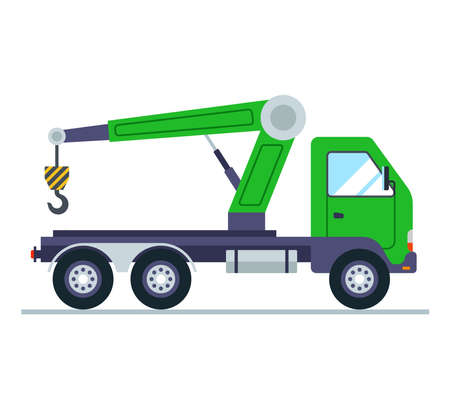 green truck with a crane. flat vector illustration. 向量圖像