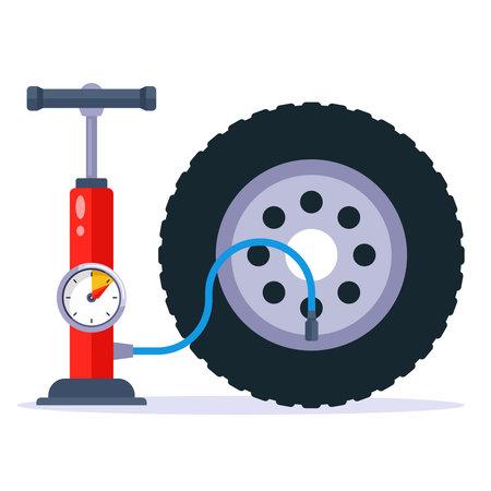 pump up a car wheel. flat vector illustration.