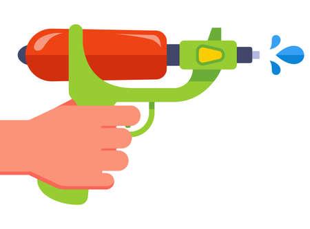 hand holds a plastic water gun. shoot water. flat vector illustration. 向量圖像