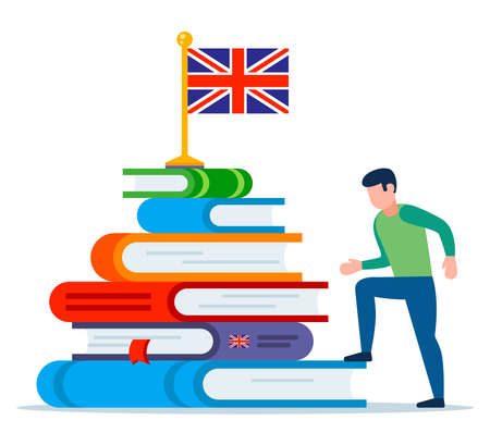 a person begins to learn English. mountain from textbooks. flat vector illustration.
