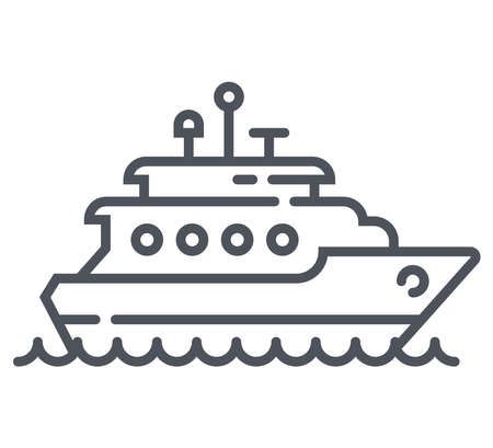 linear icon of white yacht. flat vector illustration.