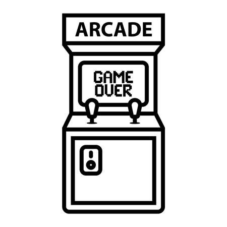 arcade machine icon with game over caption. flat vector illustration. 向量圖像