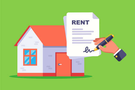 sign a document for renting a residential building. flat vector illustration. 向量圖像