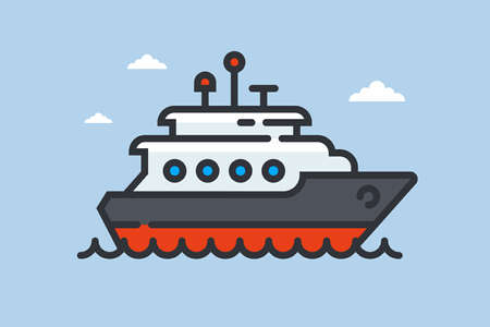 ship icon on waves. private yacht at sea. flat vector illustration.
