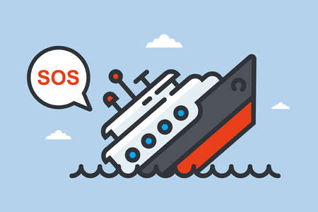 a sinking ship asks for help. flat vector illustration.