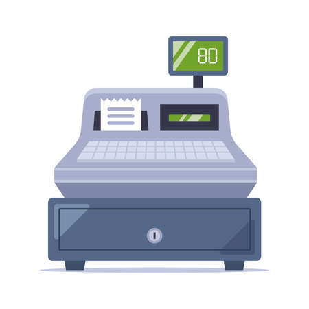 old cash register from the store. flat vector illustration