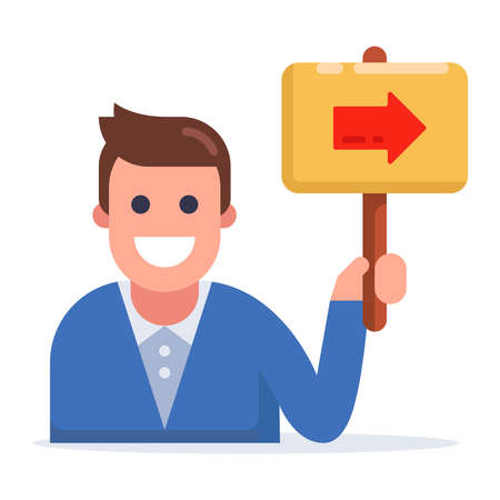 man holding a sign with an arrow. flat vector illustration. 向量圖像