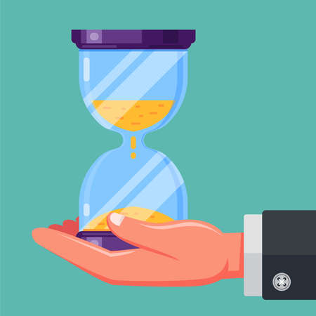 hand holds an hourglass. flat vector illustration
