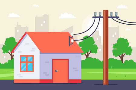 electricity supply to a private house. flat vector illustration.