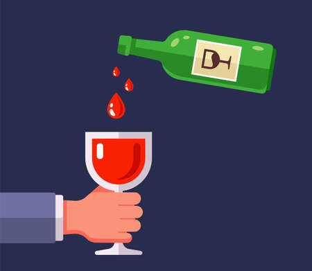 pour red wine from a bottle into a glass. flat vector illustration. 向量圖像