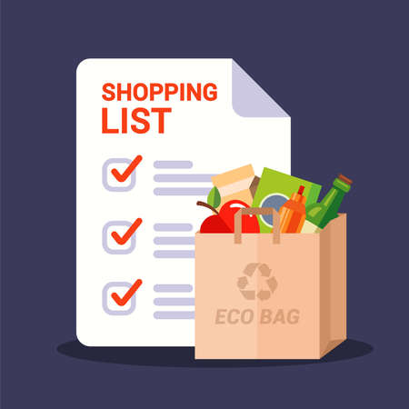 paper bag with groceries and shopping list. flat vector illustration. 向量圖像