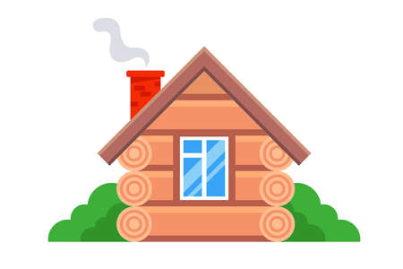 private wooden house in the Russian style. flat vector illustration.