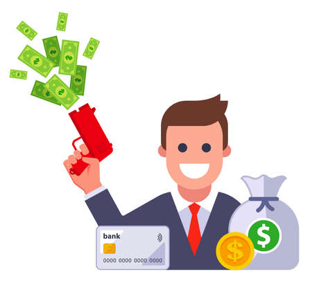 icon of a rich man with a bunch of money. flat vector illustration.
