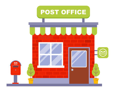 small brick post office. flat vector illustration