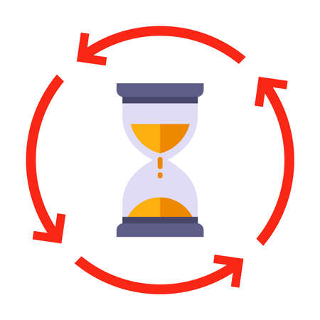 flip hourglass icon. to keep track of the elapsed time. flat vector illustration