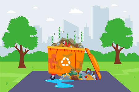 dirty garbage container on the street. poor municipal services. flat vector illustration.