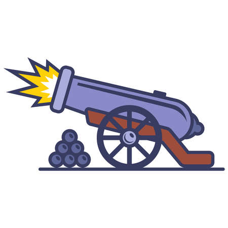 shot from an old iron cannon. flat vector illustration. 向量圖像