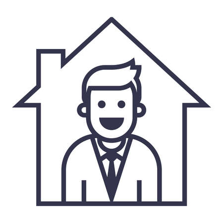 icon of a person who works from home in quarantine. flat vector illustration.