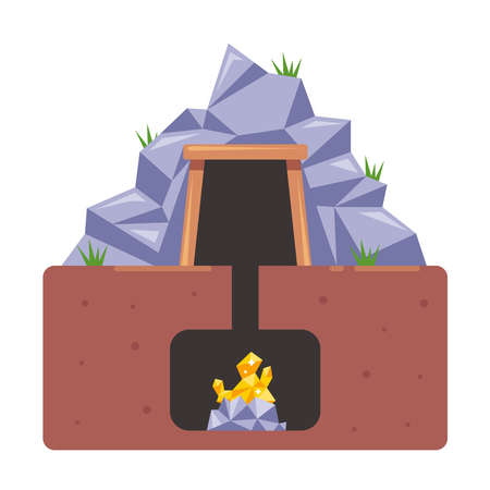 mine with gold. extraction of valuable resources from the ground. flat vector illustration. 向量圖像