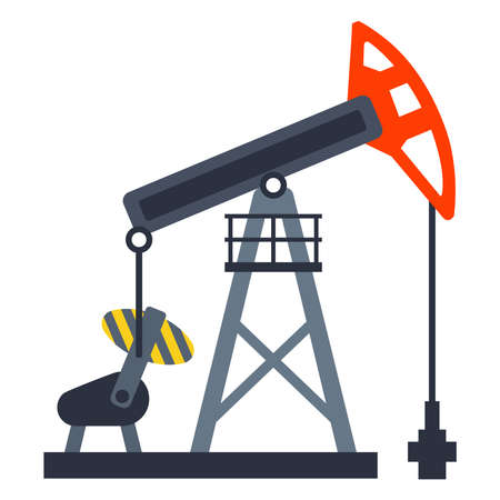 equipment for pumping oil from the ground. mining of black gold. flat vector illustration.