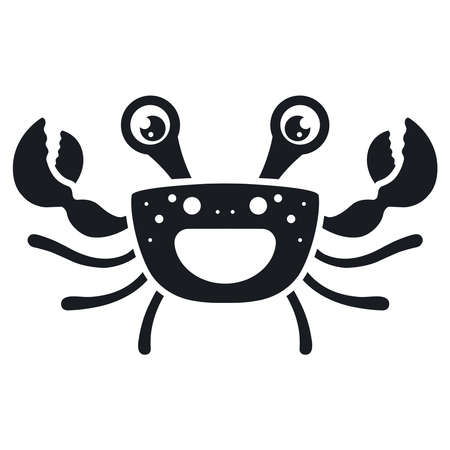 black happy cancer icon. flat vector illustration.