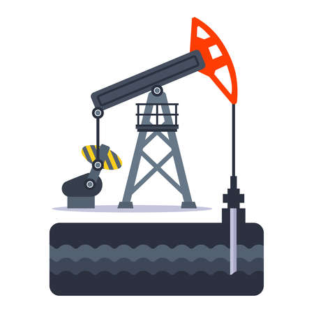 extraction of oil from over the ground using an oil rig. flat vector illustration.