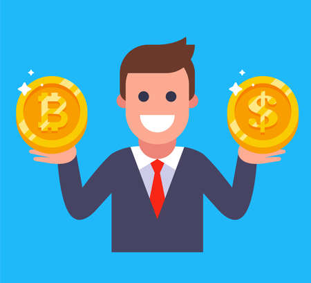 man holding bitcoin and dollar in his hands. currency exchange. flat vector illustration. 向量圖像