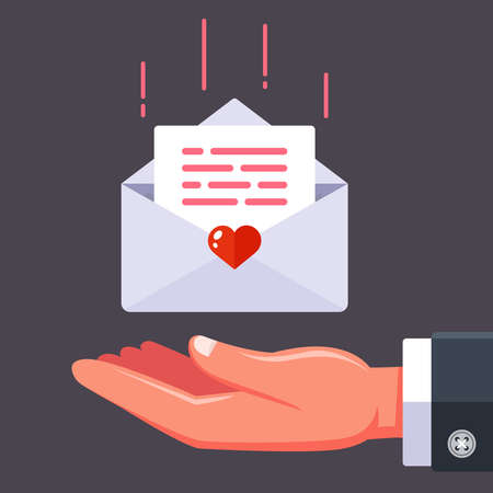 receive a love letter from your beloved. flat vector illustration.