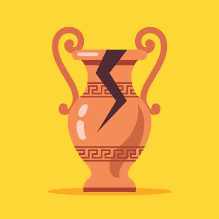 antique cracked vase from greece. flat vector illustration.