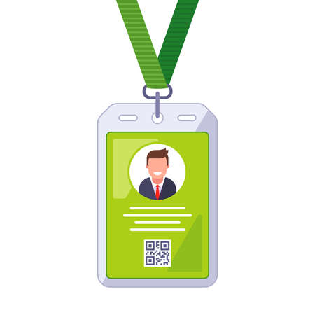 badge on the neck for personal identification. flat vector illustration.